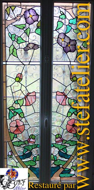 vitrail 1900 art nouveau restauration