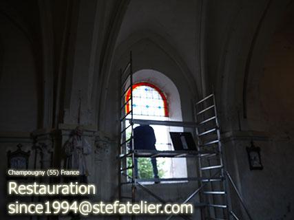 restauration des vitraux Champougny