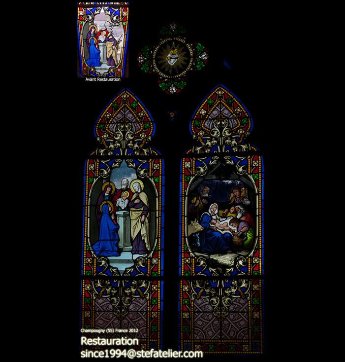 restauration des vitraux de l'église de Champougny (55 meuse France) par Stef atelier vitraux d'art