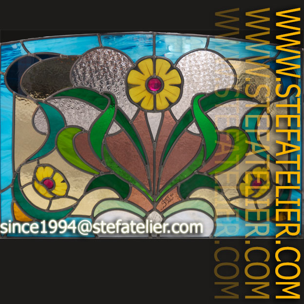 Vitrail Style Art Nouveau Fleurs Jaunes Stef Atelier Vitraux D Art