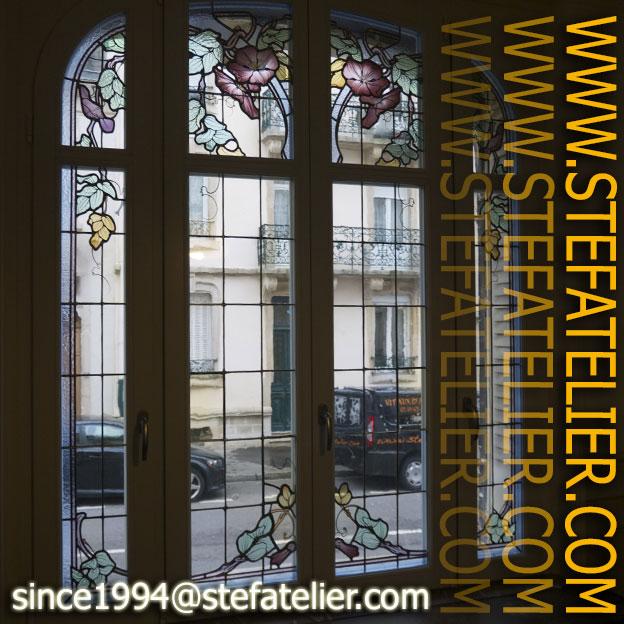 Restauration de vitraux art nouveau par stef atelier for Art nouveau fenetre