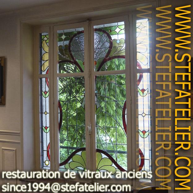 vitrail ancien restaurés pas Stef Atelier vitraux d'art. Vitrail art nouveau école de Nancy