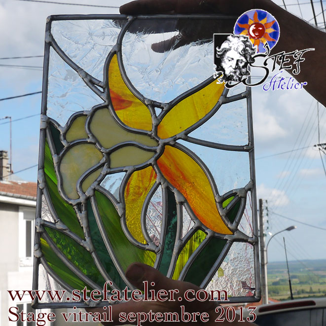 stage de vitrail à l'atelier de vitraux d'art Stef Atelier