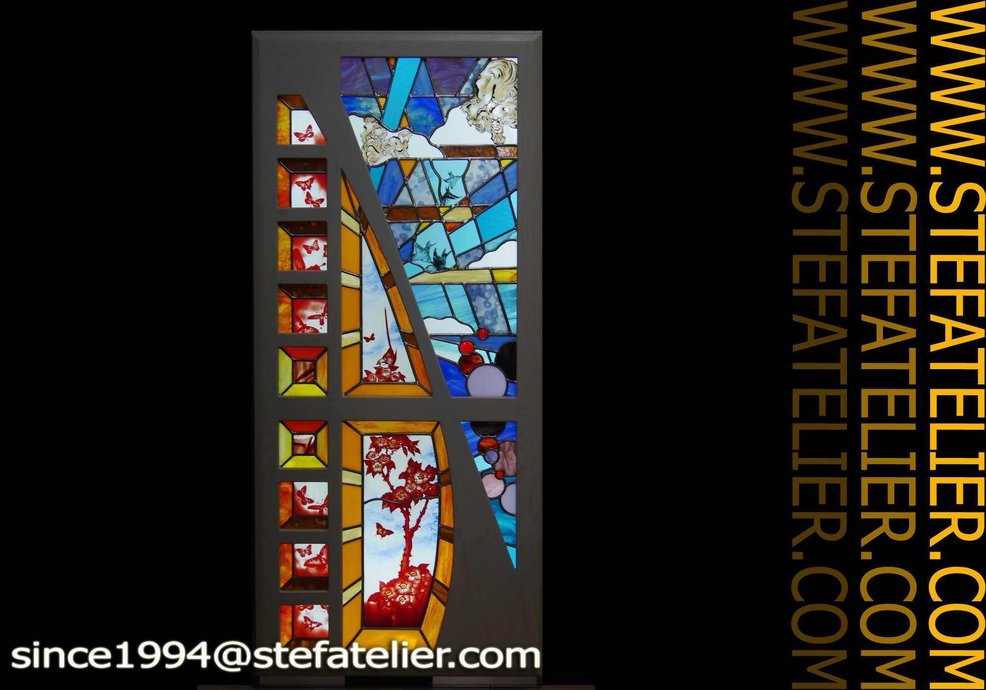 Vitrine aux vitraux meuble a stef atelier vitraux d art - Meuble tiffany ...