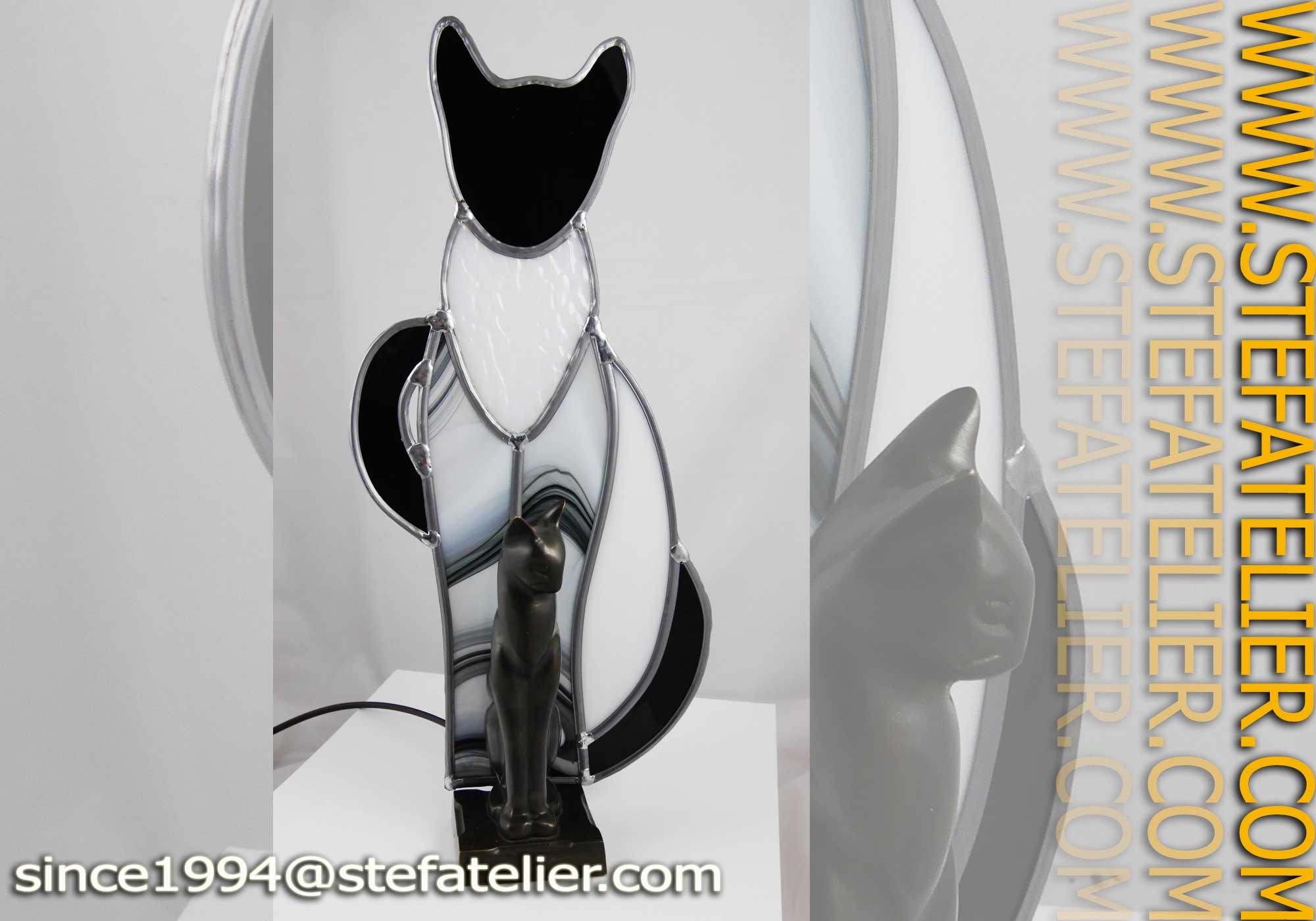 Lampe Chat Noir Stef Atelier Vitraux D Art