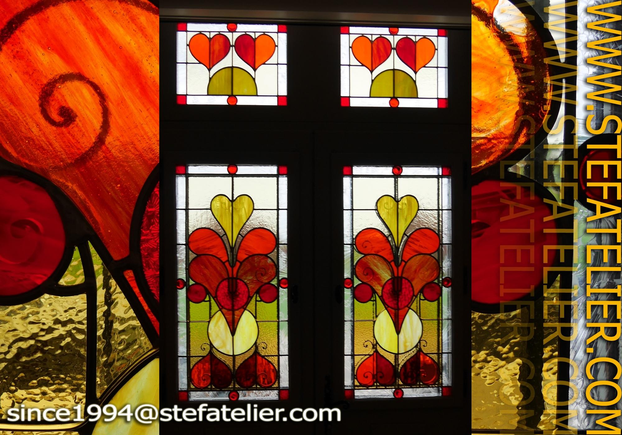 Vitrail porte d entr e avec grille stef atelier vitraux d art - Porte d entree avec vitrail ...