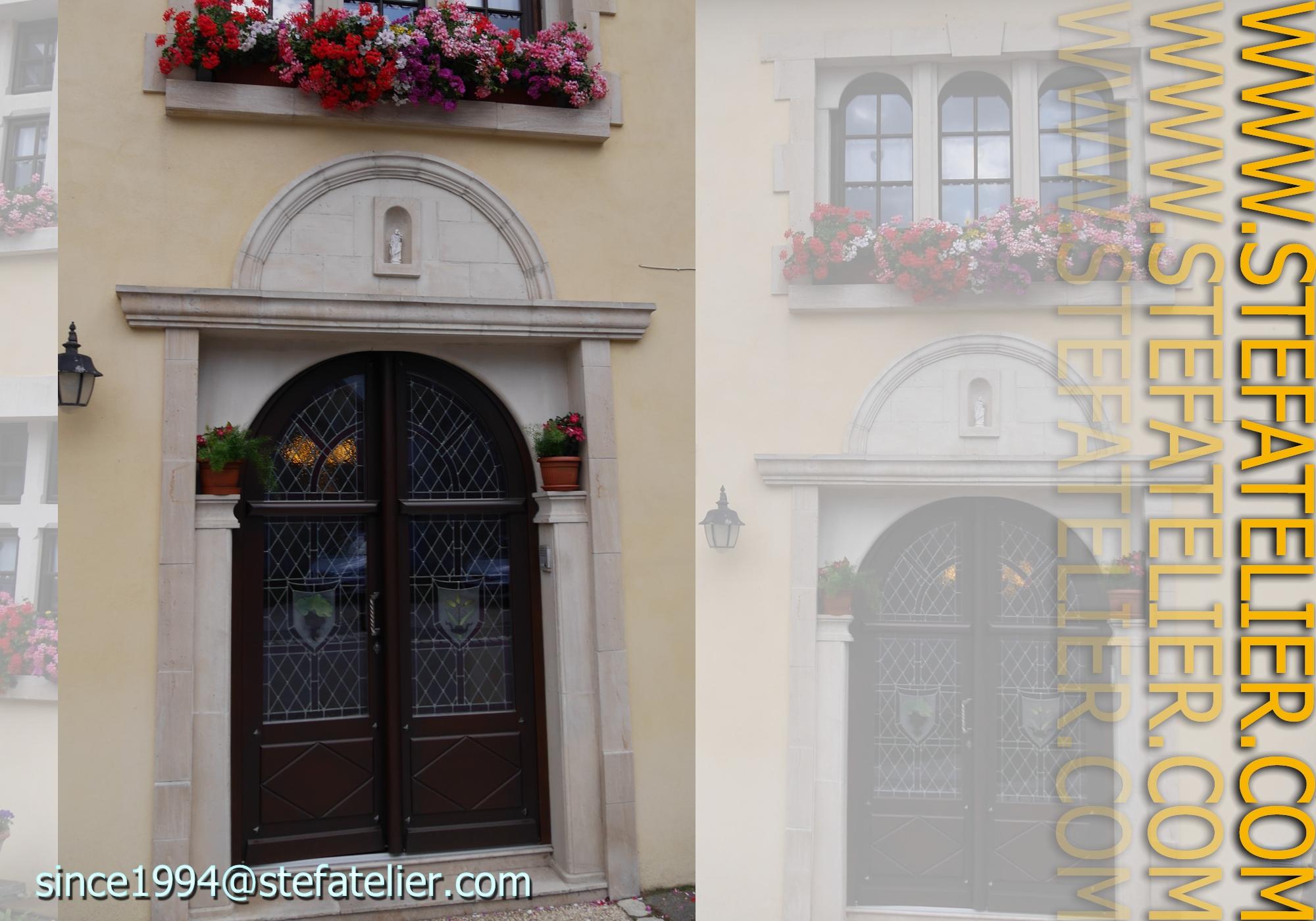 Vitraux de losanges pour porte d entr e stef atelier vitraux d art - Porte d entree avec vitrail ...