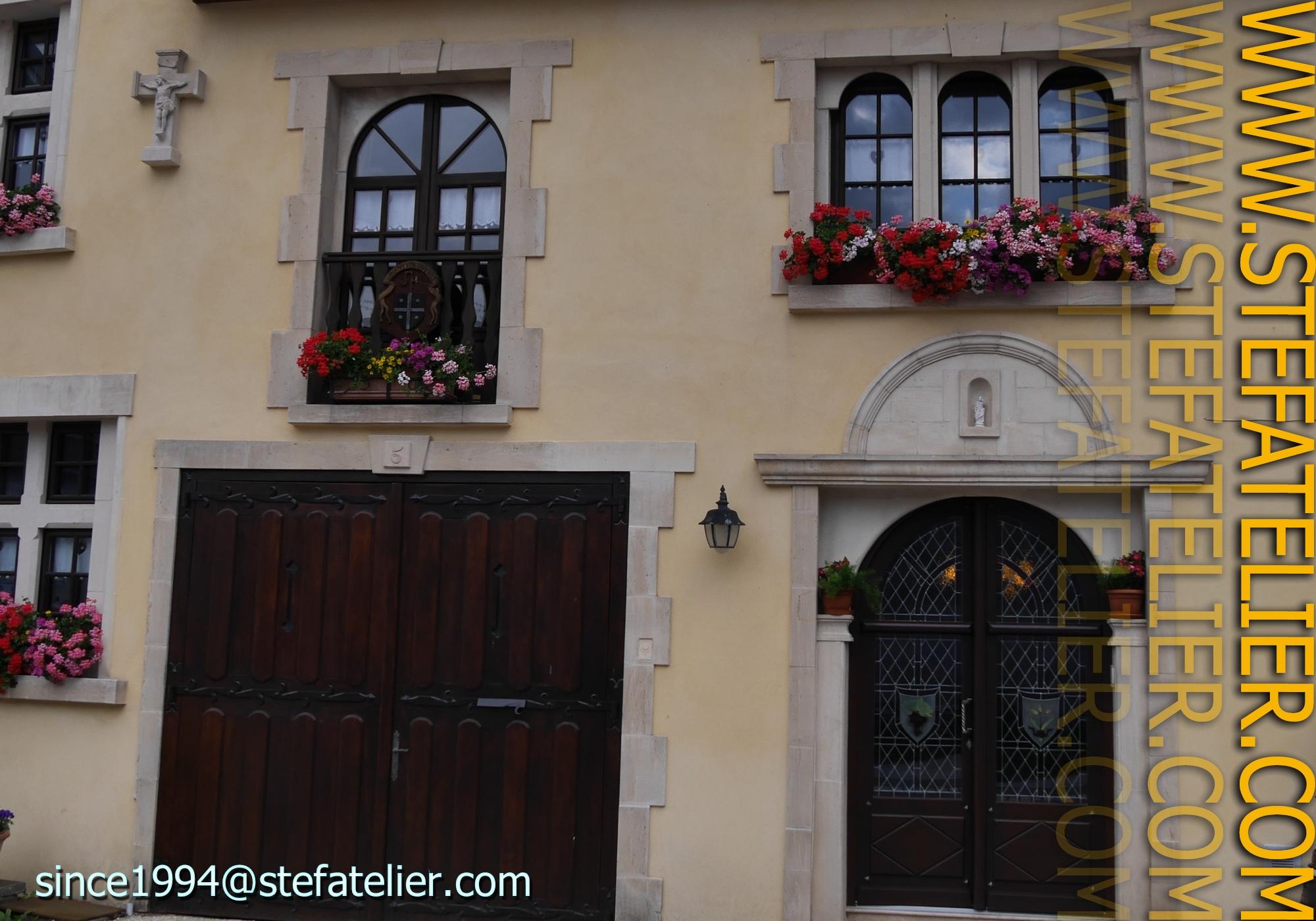 Vitraux de losanges pour porte d\'entrée – Stef Atelier Vitraux d art