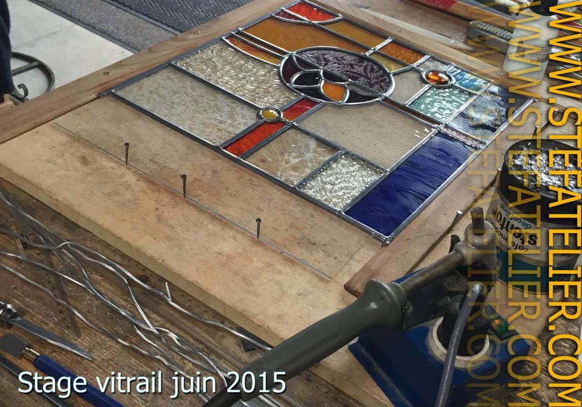 stage de vitrail fin de mise en plomb