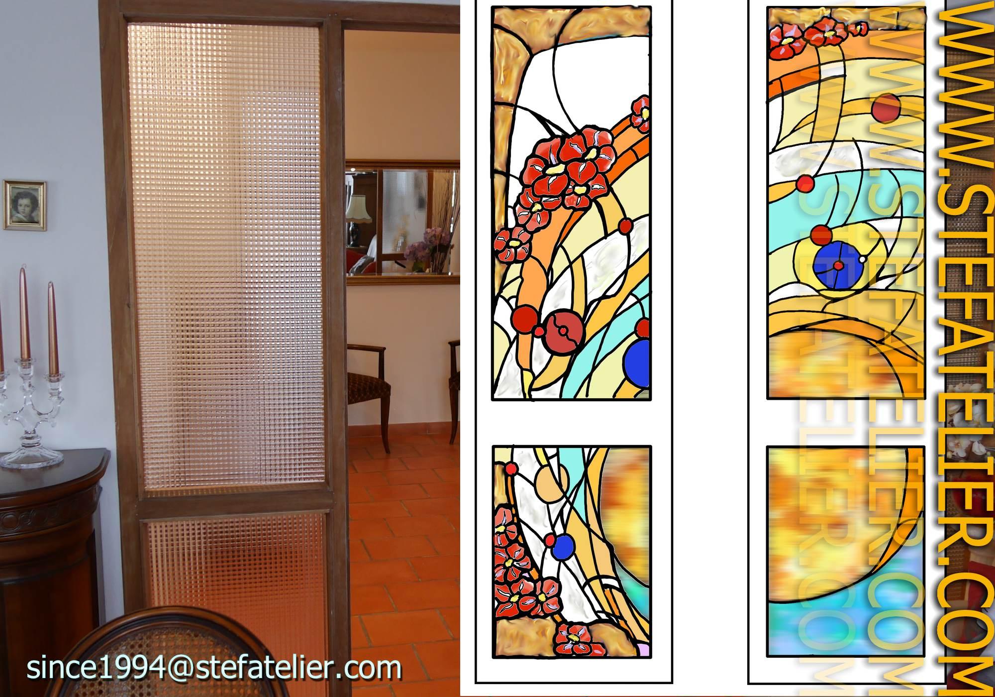 cr ation vitrail contemporain fleurs rouges stef atelier vitraux d art. Black Bedroom Furniture Sets. Home Design Ideas