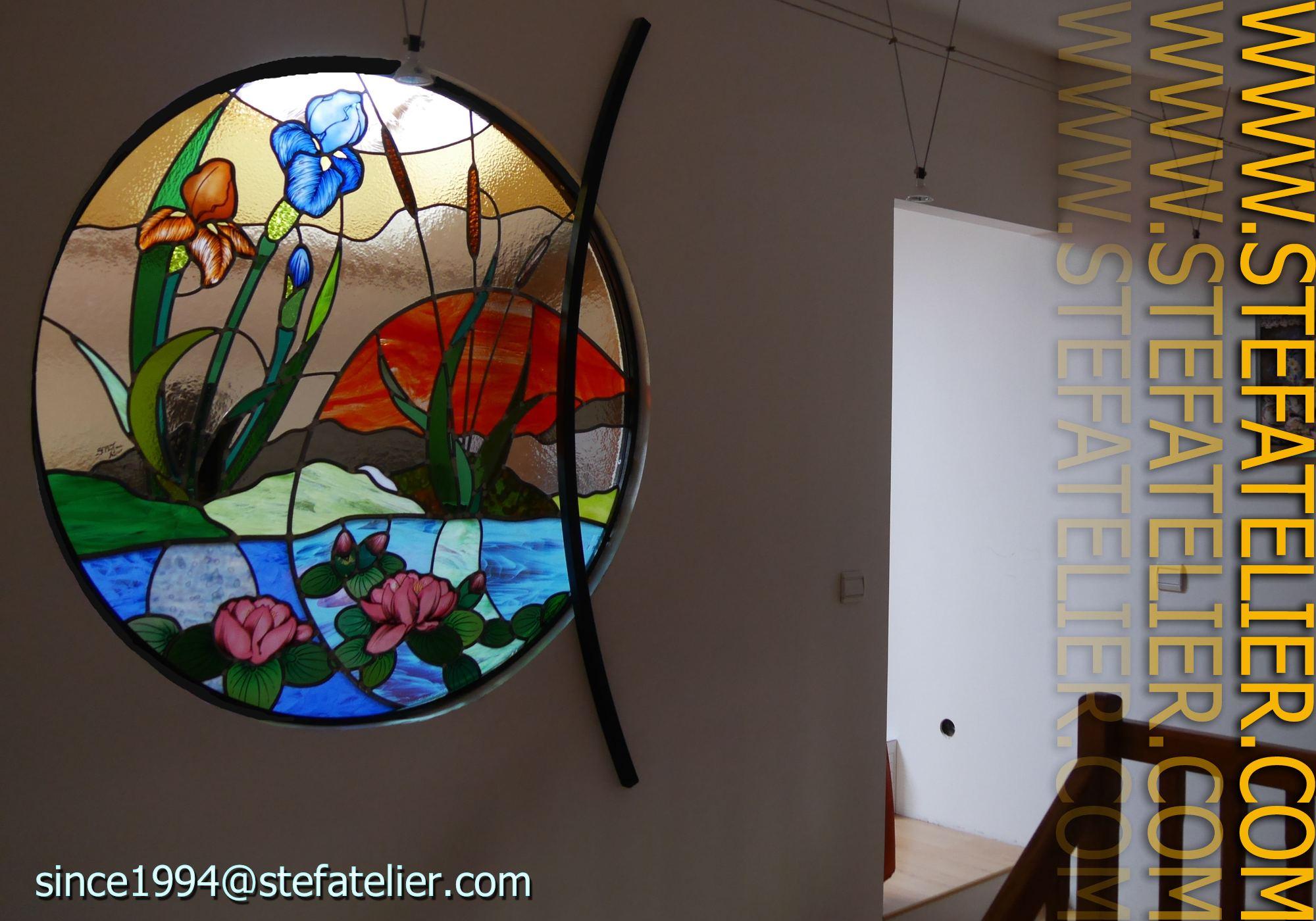Vitrail rond aux n nuphars stef atelier vitraux d art - Vidrieras modernas ...