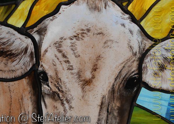 vitrail vache brune