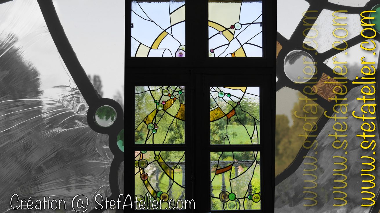 vitrail moderne cives et cabochons en verre