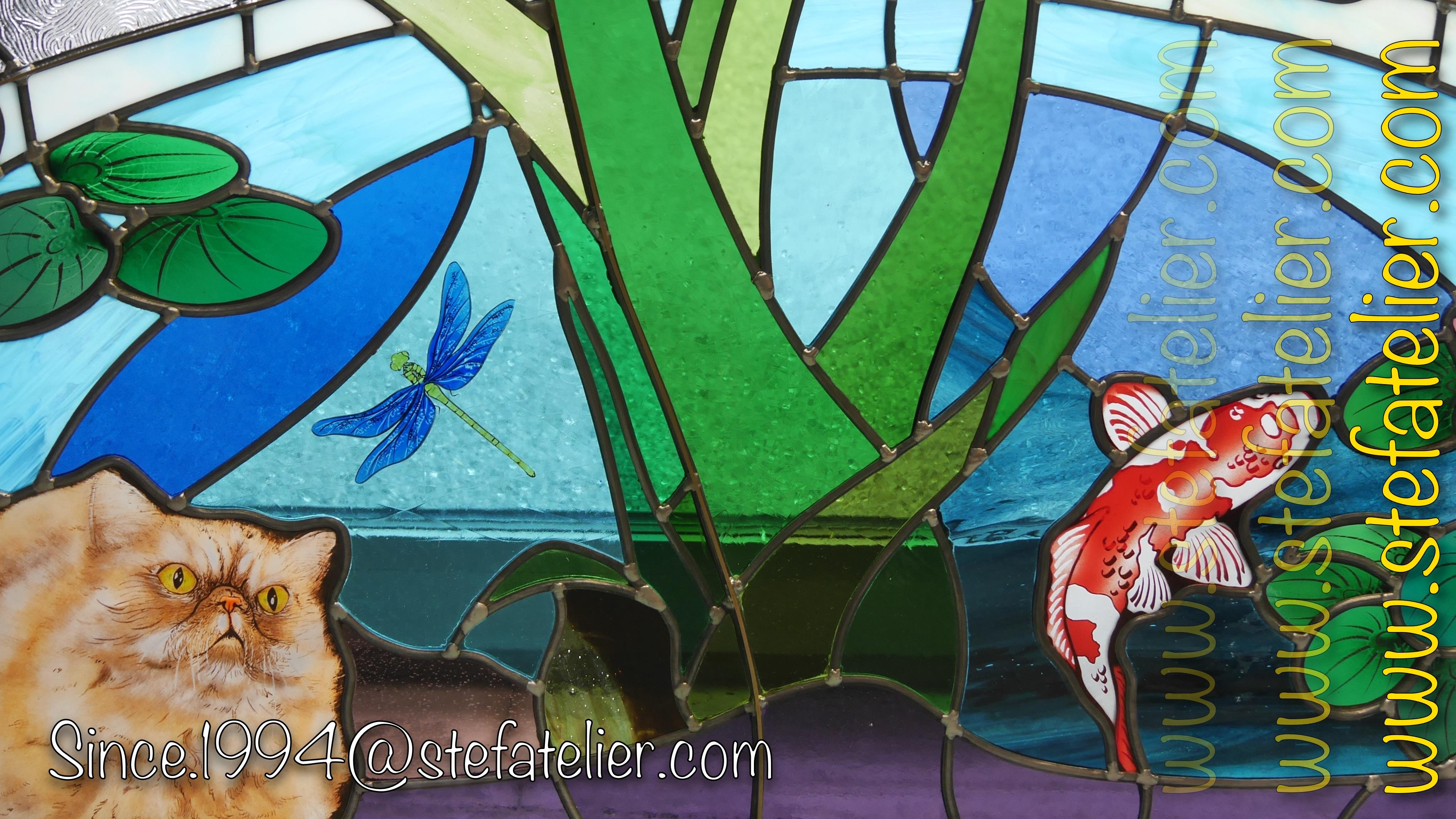 Vitrail chats et Carpe – Stef Atelier Vitraux d art