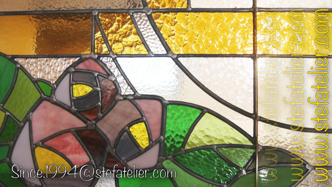 fleurs vitrail style art décoratif
