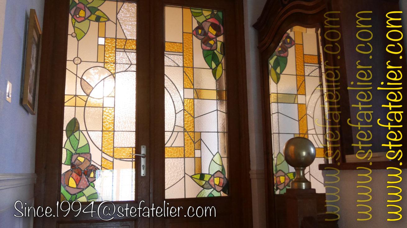 vitrail au plomb style art décoratif