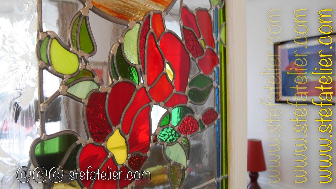 vitrail fleurs rouges 2