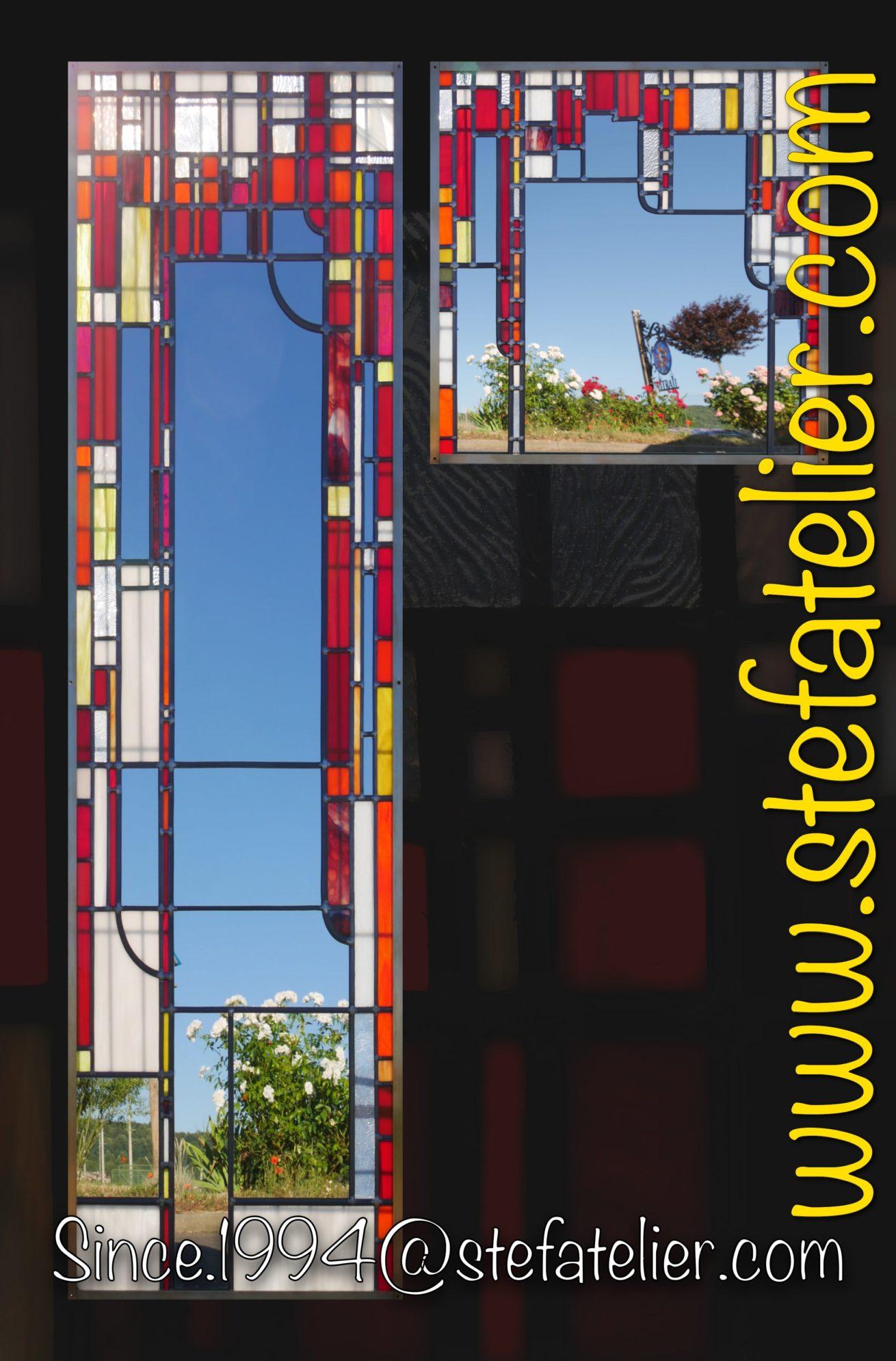 Miroir Moderne rouge vitrail