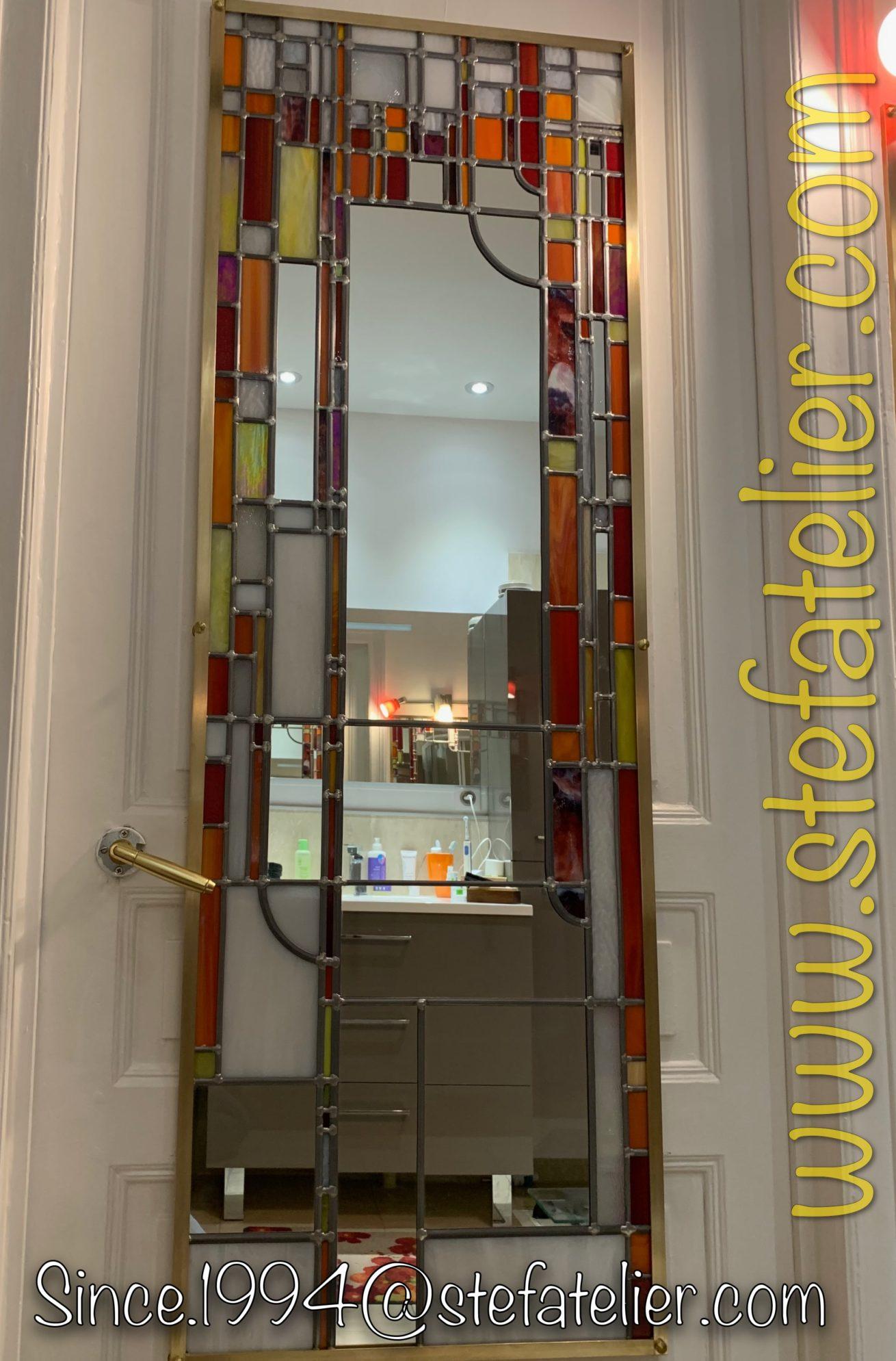 miroir vitrail rouge-orange