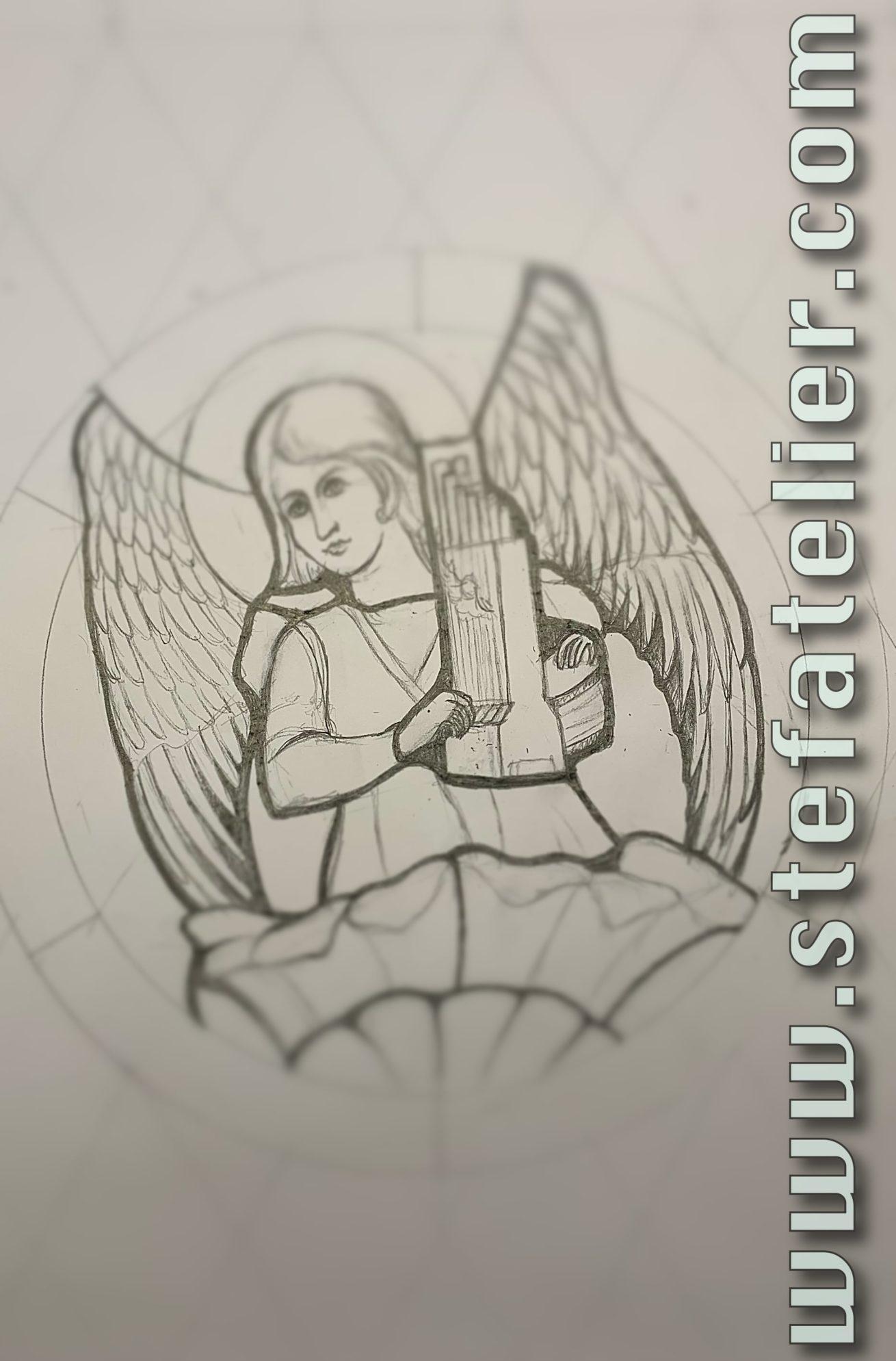 maquette vitrail ange musicien