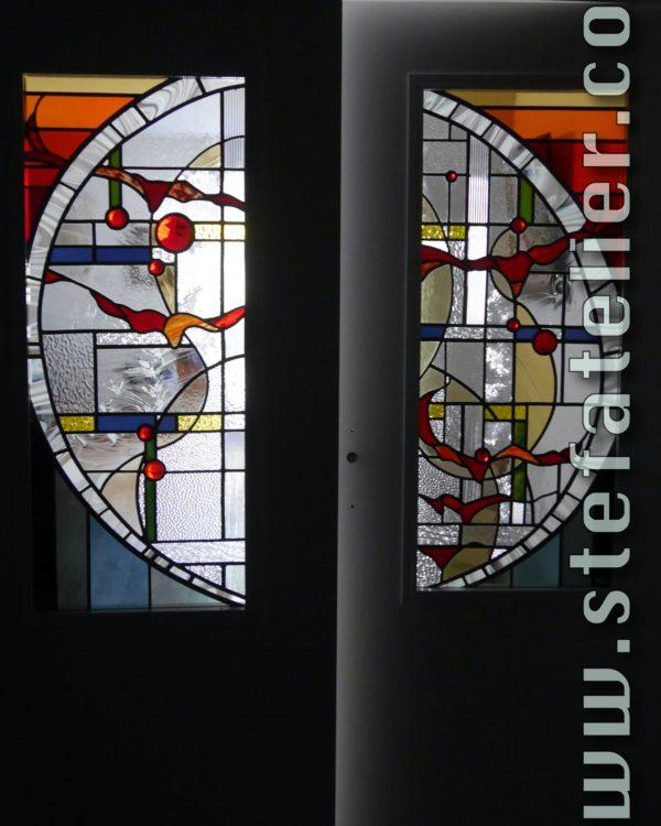 vitrail moderne pour porte de séparation