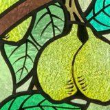 gros plan vitrail motifs de citrons