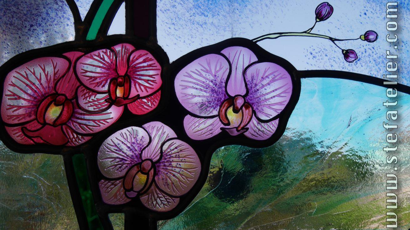 gros plan sur vitrail aux ophris orchidées