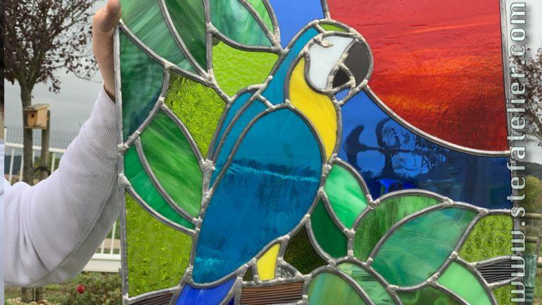 stage de vitrail traditionel au plomb du mois d'octobre 2020 gros plan perroquet