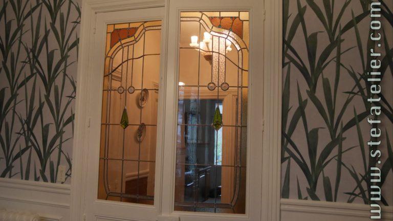 vitrail art décoratif sur double porte