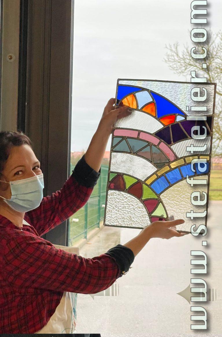 découverte et réalisation de deux vitraux pendant un stage de vitrail