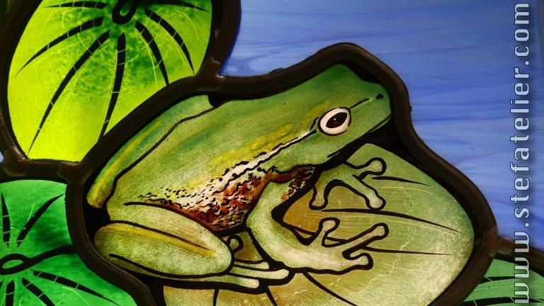 détail vitrail grenouille sur feuille de nénuphar